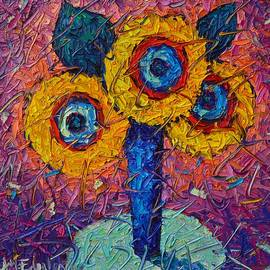 Ana Maria Edulescu - Abstract Sunflowers Contemporary Impressionism Impasto Palette Knife Oil Painting Ana Maria Edulescu