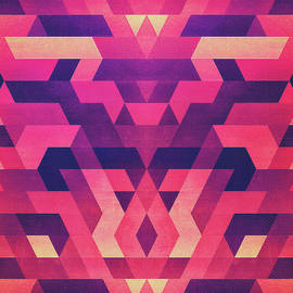 Philipp Rietz - Abstract Symertric geometric triangle texture pattern design in diabolic magnet future red