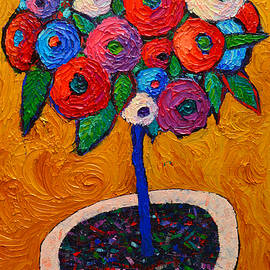 Ana Maria Edulescu - Abstract Wild Roses On Gold Modern Impressionist Palette Knife Oil Painting By Ana Maria Edulescu