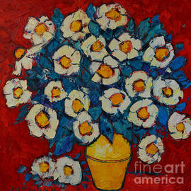 Ana Maria Edulescu - Abstract Wild White Roses Original Oil Painting