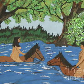 Jeffrey Koss - Adam and Eve Swimming On Horses
