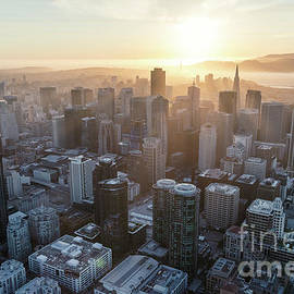 Aerial Of Downtown District At Sunset, San Francisco, California by Matteo Colombo