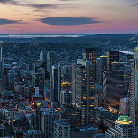 Mike Reid - Aerial Seattle Downtown Buildings Leading to the Space Needle