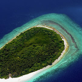 Jenny Rainbow - Aerial View of Deserted Island. Maldives