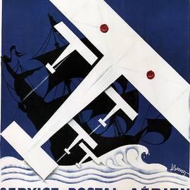 Aeropostale Service Postal Aerien - Paris Airlines - Retro travel Poster - Vintage Poster - Studio Grafiikka