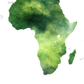 Africa - Green Forest Art Map by Prar Kulasekara