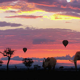Susan Schmitz - African Safari Colorful Sunrise With Animals