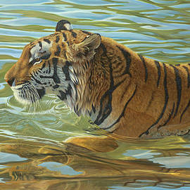 Tiger Swimming, Tiger, Siberian Tiger, Tiger In Water, Painting, Big Cat, Wild Realism, Feline by Mick Flodin