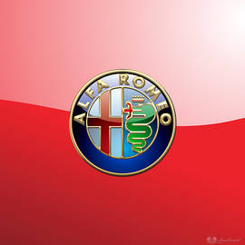 Alfa Romeo - 3d Badge on Red