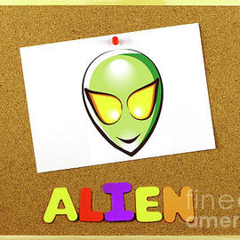 Alien word on a corkboard by Daniel Ghioldi
