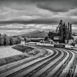All Tracks Lead to the Old Steel Mill black and white by Paul Ward