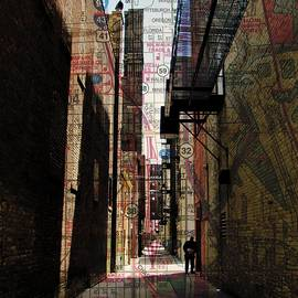 Alley And Guy Reading W Map by Anita Burgermeister