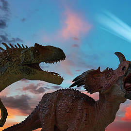 Allosaurus and Styracosaurus Battle as the Comet Approaches by Derrick Neill