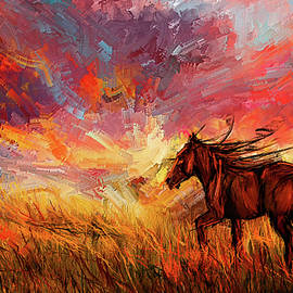 Alone In The Range - Horse At Sunset by Lourry Legarde
