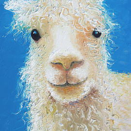 Alpaca on blue background by Jan Matson