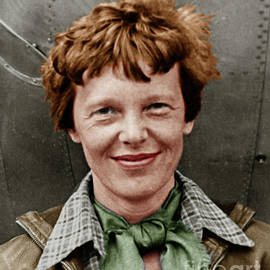 Wingsdomain Art and Photography - Amelia Earhart American Aviation Pioneer Colorized 20170525 vertical