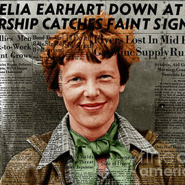 Wingsdomain Art and Photography - Amelia Earhart American Aviation Pioneer Colorized 20170525 With Newspaper