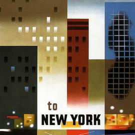 American Airlines to New York - Abstract Geometric Vintage Poster - Studio Grafiikka
