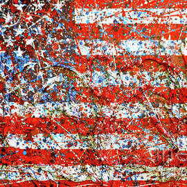 Genevieve Esson - American Flag Abstract 2 With Trees
