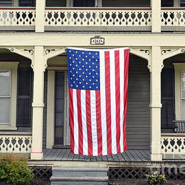 Catherine Sherman - American Flag on Vermont Porch