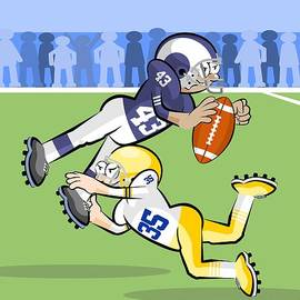 American football players in hard fight for control of the ball by Daniel Ghioldi