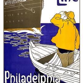 Studio Grafiikka - American Line - Philadelphia, Queenstown, Liverpool - Retro travel Poster - Vintage Poster