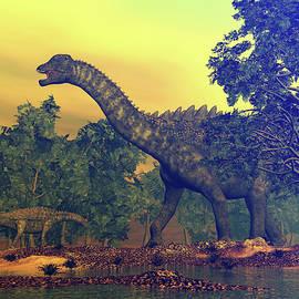 Ampelosaurus dinosaurs - 3D render by Elenarts - Elena Duvernay Digital Art