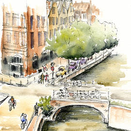 Amsterdam Canal Watercolor by Karla Beatty