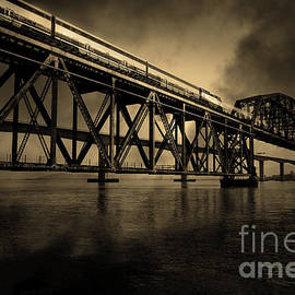 Wingsdomain Art and Photography - Amtrak Midnight Express 5D18829 Sepia