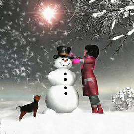 Amy And Buddy Building A Snowman by Jan Keteleer