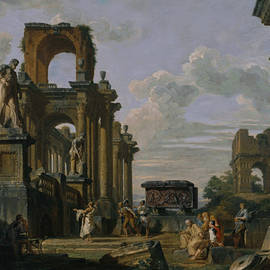 An Architectural Capriccio of the Roman Forum with Philosophers and Soldiers - Giovanni Paolo Panini