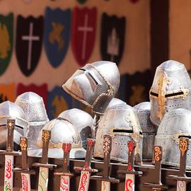 An Assortment of Helmets, Shields and Swords by Derrick Neill