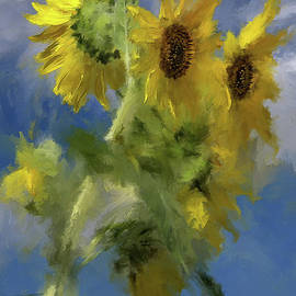 An Impression of Sunflowers In The Sun by Lois Bryan
