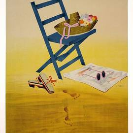 Andalucia, Spain - Deckchair with Retro Hat, Shoes, Sunglass - Retro travel Poster - Vintage Poster - Studio Grafiikka