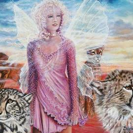 Angel And Her Pride Of Cheetas  by Sigrid Tune
