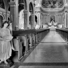 Angel - Catholic Church - Chicago - Black and White by Nikolyn McDonald