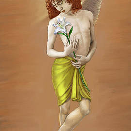 Dominique Amendola - Angel holding a lily
