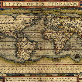 Antique Map Of The World By Abraham Ortelius - 1564 by Marianna Mills