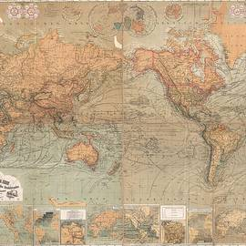 Antique Maps - Old Cartographic maps - Antique German Map of the World, 1870 - Studio Grafiikka