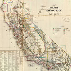 Studio Grafiikka - Antique Maps - Old Cartographic maps - Antique Map of California and Nevada, 1866