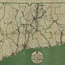 Studio Grafiikka - Antique Maps - Old Cartographic maps - Antique Map of the Street Railways of Connecticut, 1911