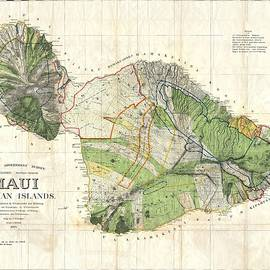 Studio Grafiikka - Antique Maps - Old Cartographic maps - Antique Map of Maui, Hawaii, 1885