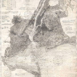 Studio Grafiikka - Antique Maps - Old Cartographic maps - Antique Map of New York Bay and Harbor, 1910