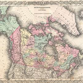 Antique Maps - Old Cartographic maps - Antique Map of North America and Canada, 1855 - Studio Grafiikka