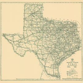 Antique Maps - Old Cartographic maps - Antique Map of the Highway System of Texas, 1933 - Studio Grafiikka
