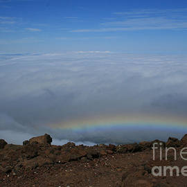 Sharon Mau - Anuenue - Rainbow at the Ahinahina Ahu Haleakala Sunrise Maui Hawaii