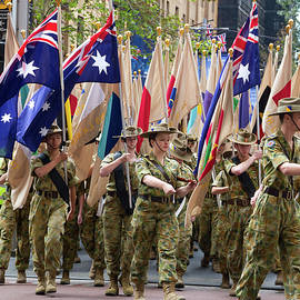 Miroslava Jurcik - Anzac Day March WW1 Unit Flags