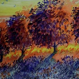 David K Myers - Apple Tree Sunset 2 Watercolor