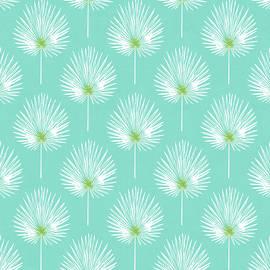 Linda Woods - Aqua and White Palm Leaves- Art by Linda Woods