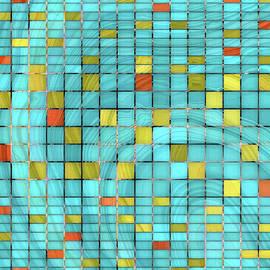 Sharon Cummings - Aqua Blue Art - Block Party 2 - Sharon Cummings